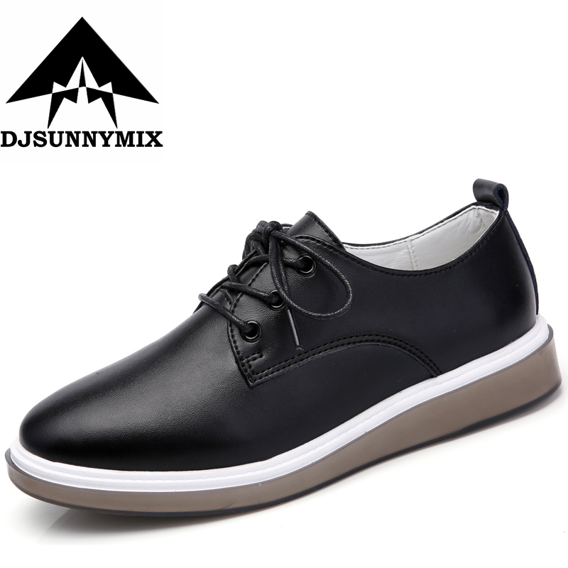 DJSUNNYMIX Brand 2018 Spring autumn women shoes genuine leather casual sneakers lace-up student flat shoes black white shoes sneakers 2017 flat women fall wedge front lace up casual ankle boots autumn round toe white big brand genuine leather