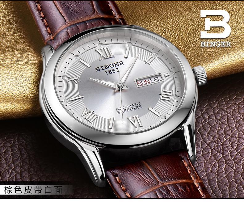 Suisse hommes montre de luxe de marque Montres BINGER lumineux Mécanique Montres bracelet en cuir Étanche BG-0383-14