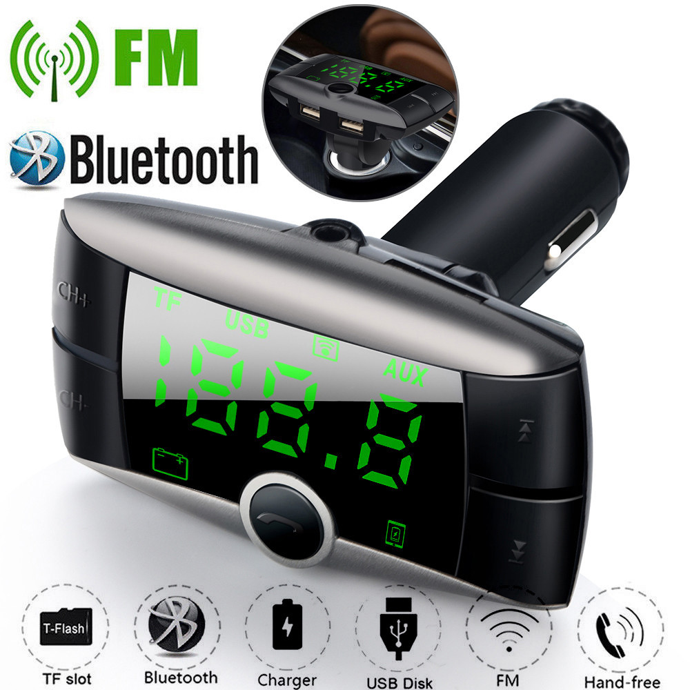 Bluetooth Car Kit Handsfree FM Transmitter Radio MP3 Player USB Charger & AUX USB Charger Handsfree Mp3 Player Aux Input bluetooth