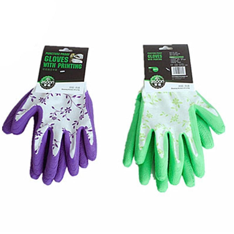 1 คู่น้ำยางถุงมือทนทานถุงมือทำสวนสำหรับสวนปลูกทำงานถุงมือหลักฐานเจาะที่มีพิมพ์มือ p rotecter
