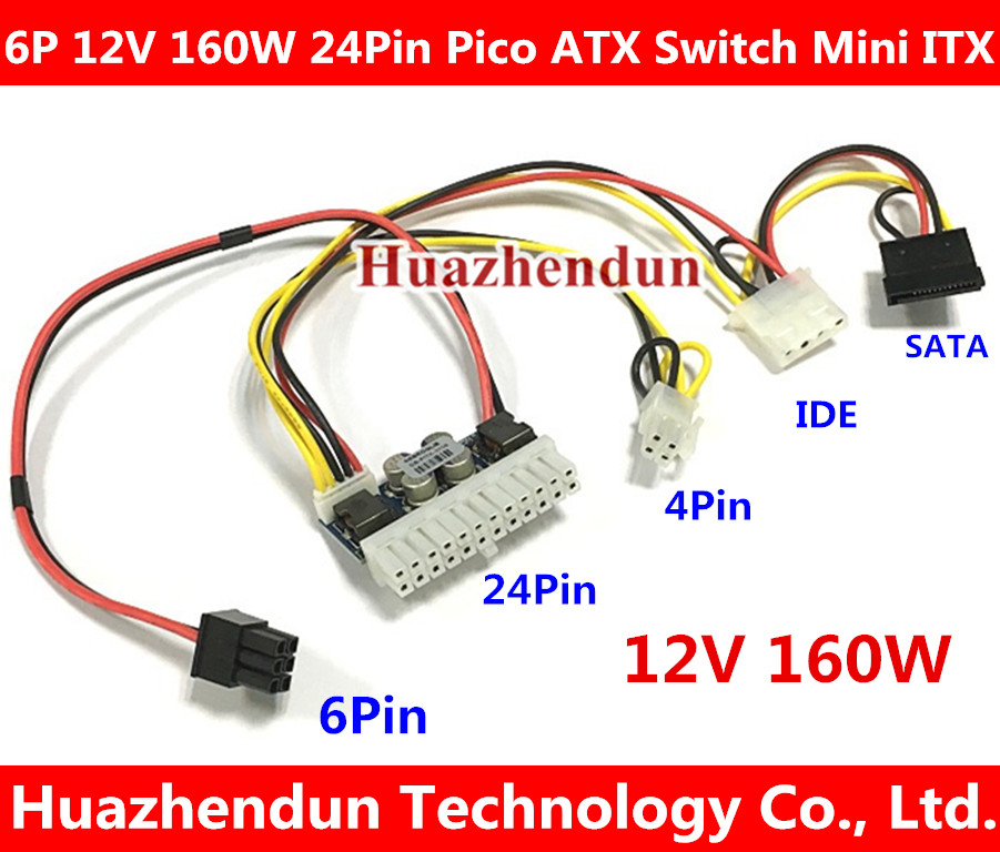 где купить DHL/EMS 50PCS 6Pin 12V 250W 24PIN Pico ATX Switch PSU Car Auto Mini ITX 6pTO 6P PSU DC-ATX power module ITX Z1 Upgrade 24PIN дешево