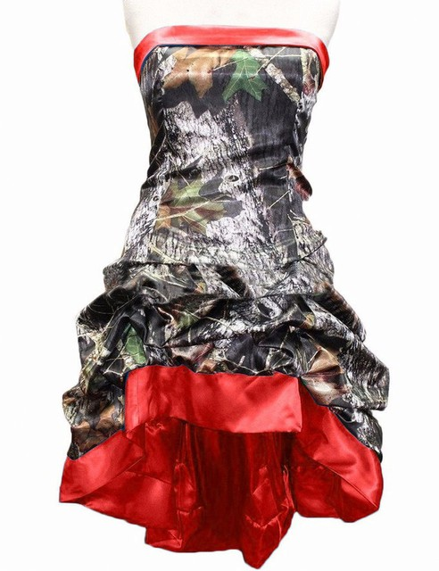 8fa1b56a1e9 2017 Mini A-Line Camo Wedding Dresses Red Sleeveless Strapless Lace Up  Camouflage Appliques Bride Bridal Gowns Custom Made Plus