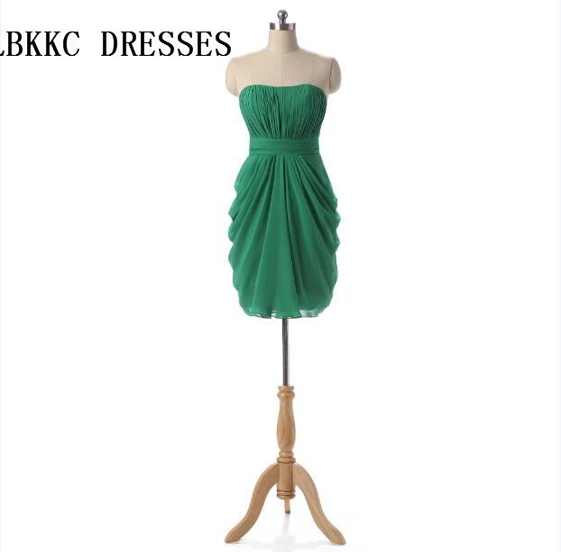 Green Cocktail Dresses Knee Length Chiffon Short Formal Party Gown Vestido  De Festa Vestido De Cocktail 277297a80fac