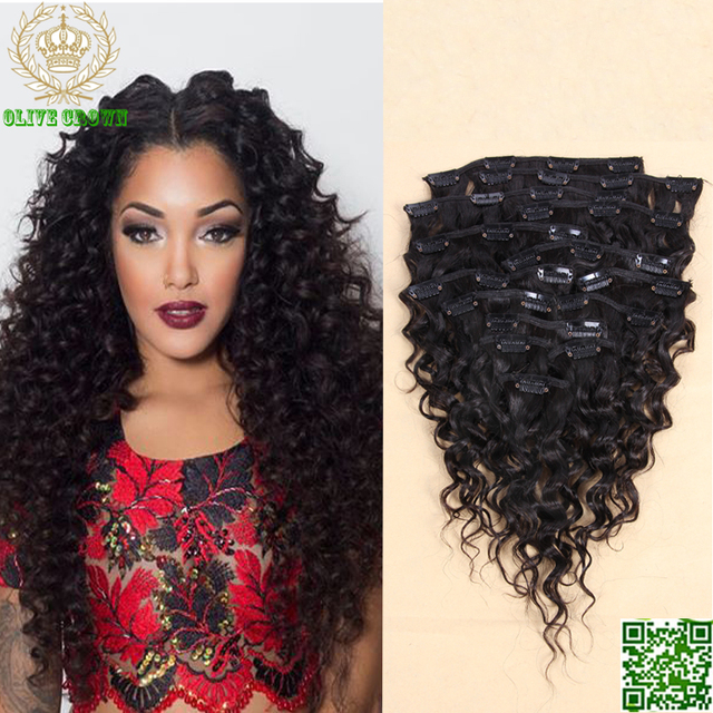 Clip In Human Hair Extensions Curly Brazilian Virgin Human Hair