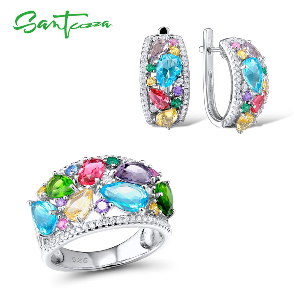SANTUZZA Silver Jewelry Set For Women Multi Color Stones White CZ Earrings Ring Set 925 Sterling