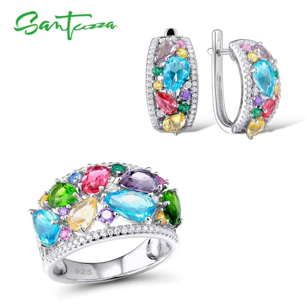 SANTUZZA เงินชุดเครื่องประดับสำหรับสตรีหลายสีหินสีขาว CZ ต่างหูแหวน 925 เงินสเตอร์ลิงแฟชั่นเครื่องประดับ