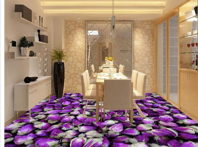 Customized Wallpaper For Walls Purple Roses Kitchen With Bathroom 3d