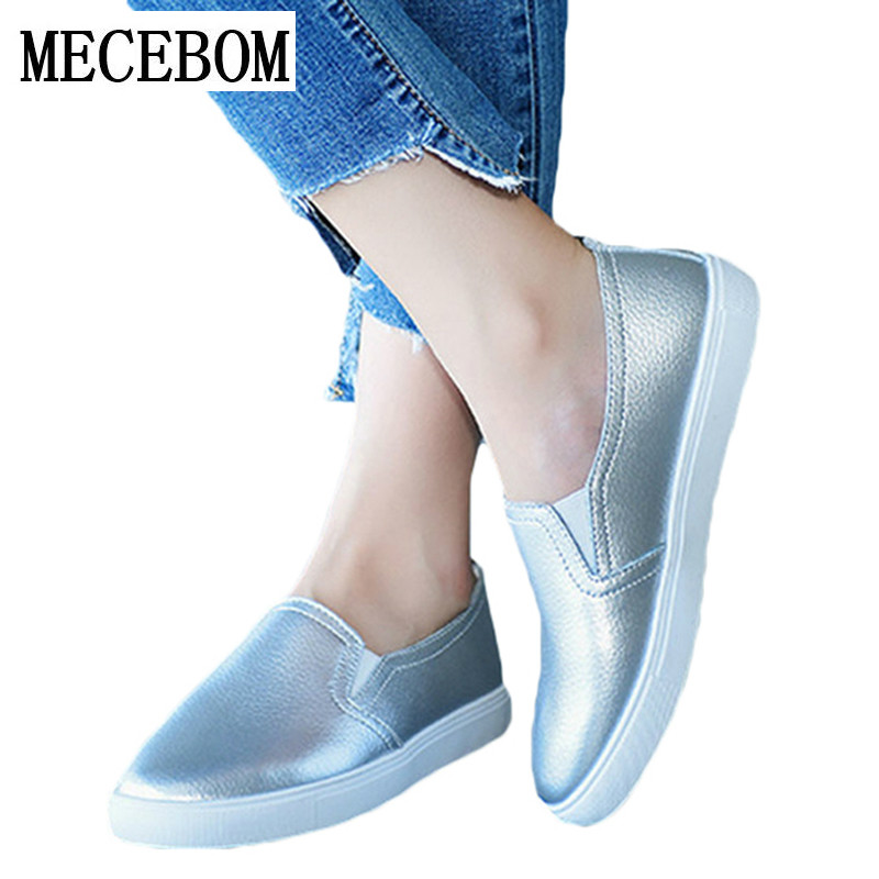Spring ballet footwear Women Leather Loafers Casual Flats Shoes Woman Slip On Female Shoes Moccasins slipony zapatos mujer 8806W купить