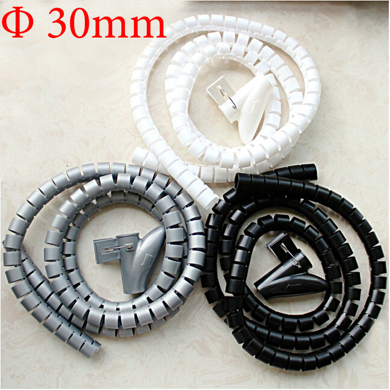 2M Black White Gray 30mm Diameter Computer Cord Manage Wire Cable Sleeve Winding Tube Flexible Spiral Wrapping Band With Clamp 2m 20mm diameter spiral wire organizer wrap tube flexible manage cord for pc computer home bundling hiding cable w clip white