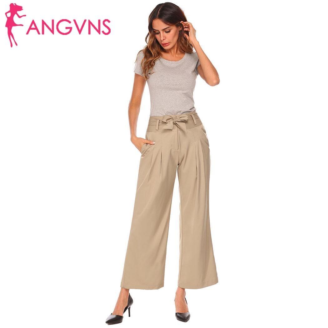 ANGVNS Metal ring tie up wide leg   pants   women   capris   Chic streetwear casual   pants   2018 Spring summer beach elastic trousers