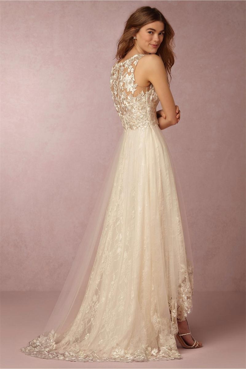 Vestido De Novia 2017 Dreaming Champagne High low Wedding Dresses V Neck  Lace Applique Robe De Mariage Bridal Gowns Plus Size-in Wedding Dresses  from ... 75cb4ef19049