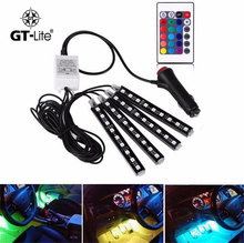 GT-lite 4Pcs Car RGB LED DRL Strip Light 5050SMD Car Auto Remote Control Decorative Flexible Atmosphere Lamp Kit Fog LampGTTL111