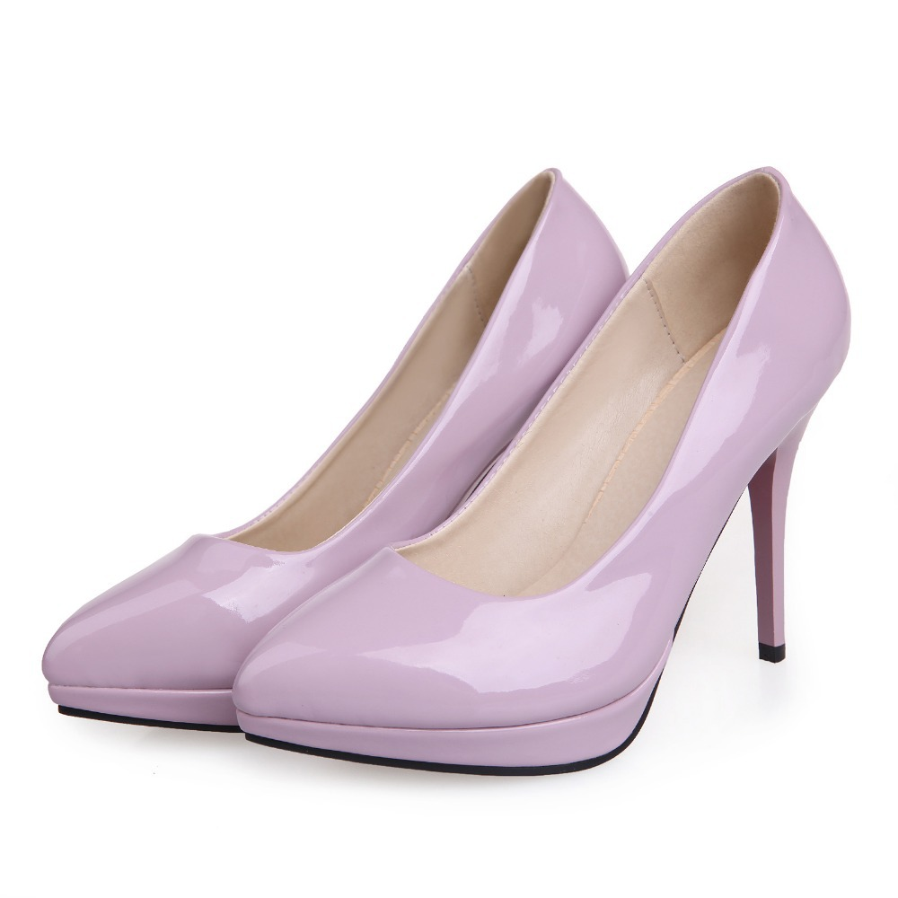 be6110e712c Brand New Sweet Green Lavender Black Red High Heels Women Nude Glossy  Platform Pumps Ladies Sexy Shoes AD1028 Plus Big Size 43-in Women s Pumps  from Shoes ...