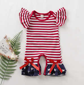Ruffle Kids Clothes For Infant Newborn Toddler Kids Baby Girls Striped Star Ruffle Flared Romper Jumpsuit July Of 4th Kids Baby