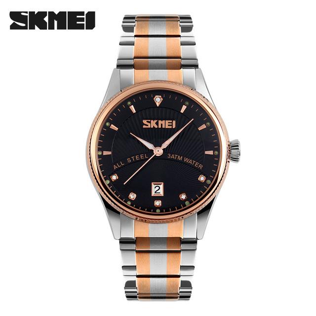Skmei marca de fábrica superior de moda de lujo para hombre relojes auto fecha completa steel business casual reloj de pulsera de cuarzo deporte masculino del relogio masculino