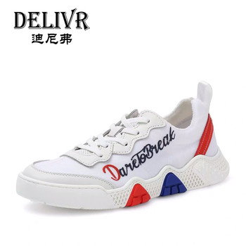 DelivrSneakers Men's Summer Shoes 2019 Newest Fashion Low-Top Lace up Men Sneakers Flats Genuine Leather White Mens Sneakers
