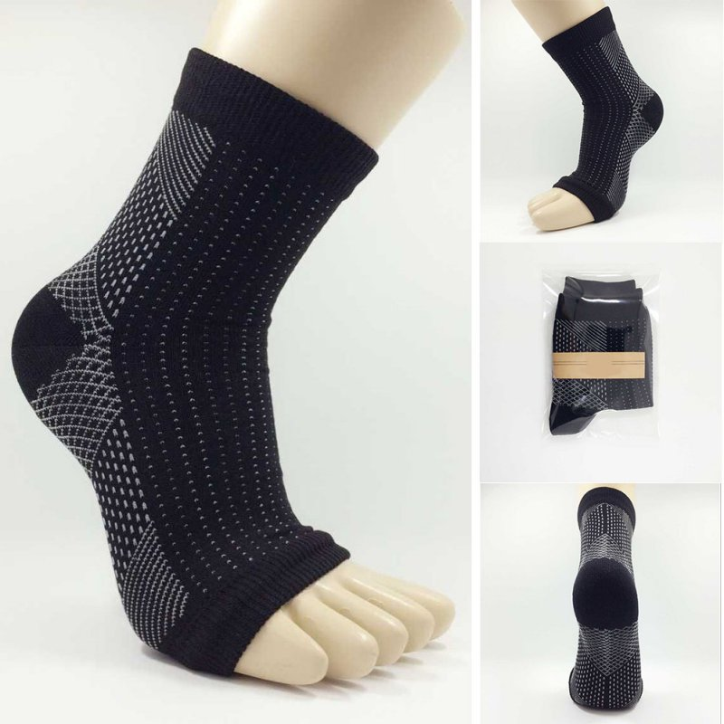 New 1 Pair Women Men Unisex Ankle Heels Support Compression Foot Angel Sleeve Heel Arch Support Pain Relief   Sock   T6