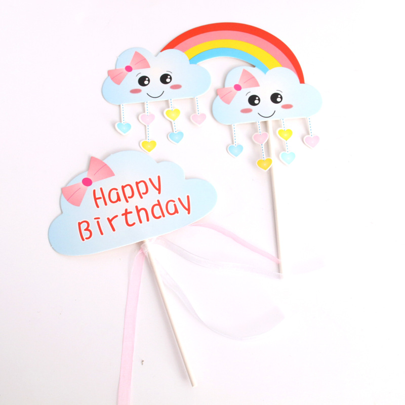 Biling Cake Toppers Flags Rainbow Cloud Star Hot Air Balloon Cake Topper Kids Birthday Wedding Baby Shower Baking Party DIY Xmas