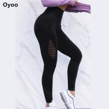 Oyoo super models chic twist compression tights high quality sport leggings women white mesh yoga pants fitness gym clothes(China)