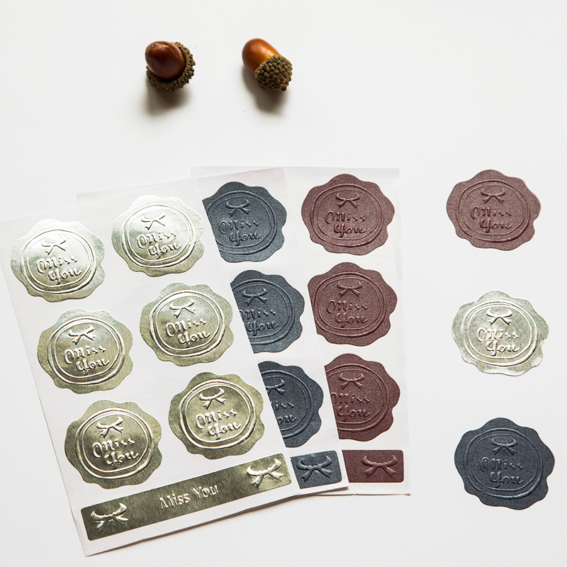 14pcs! 3D Embossed Stamp Wax Seal Stickers Baking Invitation Card Decorative DIY Scrapbooking Supplies Sealing Paste Paper