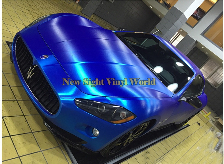 High Quality Matte Chrome Brushed Blue Vinyl Wrap Film