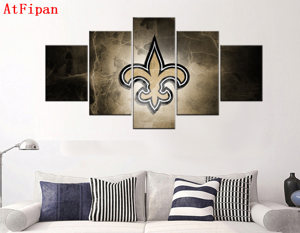 Atfipan Wall Art Modular Pictures 5p New Orleans Saints Fans Poster Hot Canvas Painting Home Decor