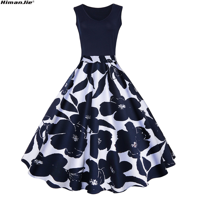 1fce7f244bff HimanJie 2017Summer Dress Audrey Hepburn Vestidos Sleeveless v neck Floral  Print Party Dress Women vintage office
