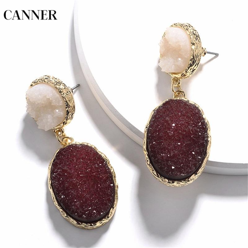 Canner Circle Oval Resin Drop Earrings Big Stone Dangle Earrings For Women Girl Geometric Fashion Jewelry 2019 in Drop Earrings from Jewelry Accessories