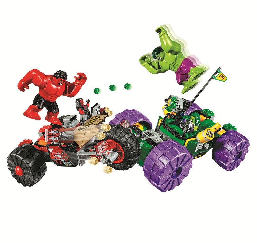 BELA Batman Super Heroes Hulk vs. Red Hulk Building Blocks Bricks Movie Model Kids Toys Marvel Compatible Legoe