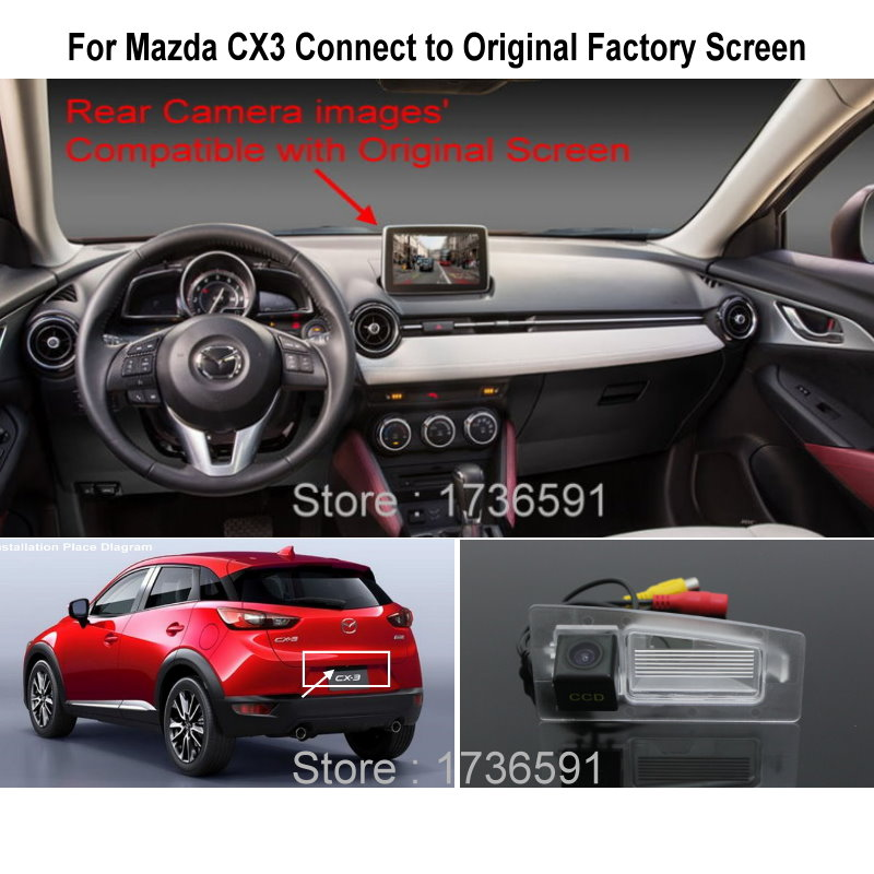 Lyudmila For <font><b>Mazda</b></font> <font><b>CX3</b></font> CX-3 CX 3 RCA & Original Screen / Monitor Compatible Rear View Camera High Quality Back Up Reverse Camera image