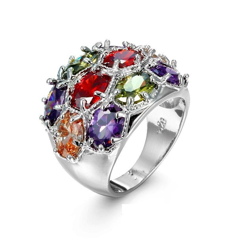 Aliexpress Com Buy Charming Jewelry Six Prong Set Multi