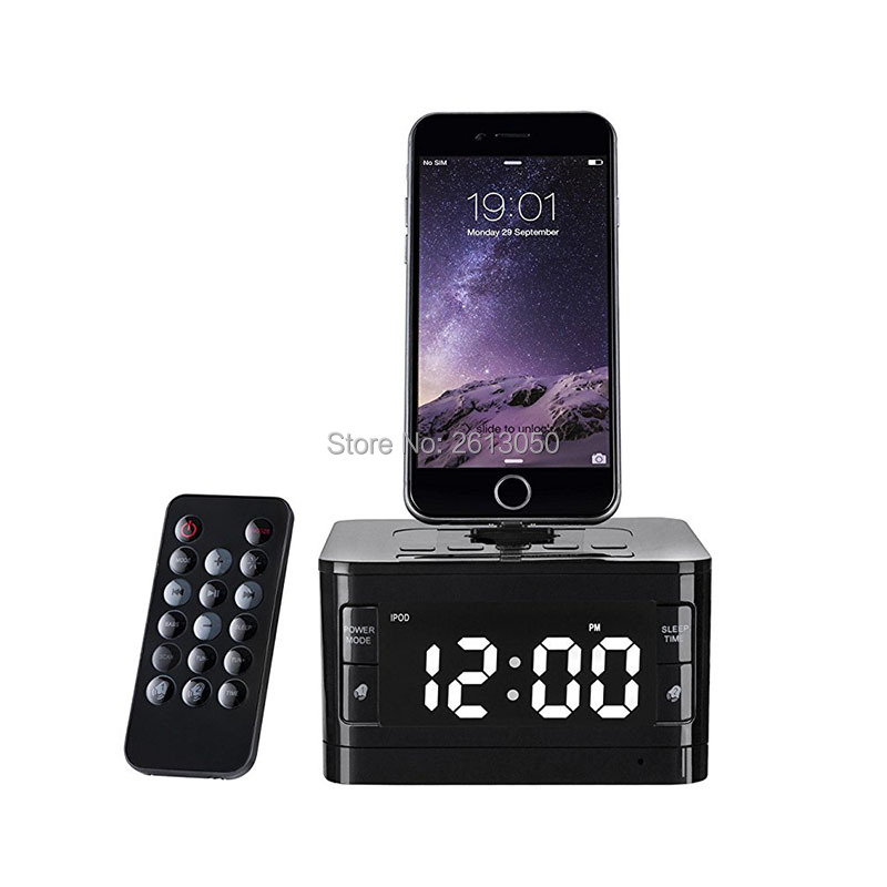 brand new f91c8 b91e4 US $114.0 |Bluetooth Speaker Stereo FM Alarm Clock Radio USB Charging Smart  Phone Dock Station Hotel Tablet Desk Stand Holder for iphone-in Portable ...