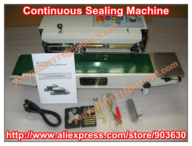 220V/110V Continuous Plastic Film Bag Sealing Machine FR 770,steel wheel printing code date ,bath number printed
