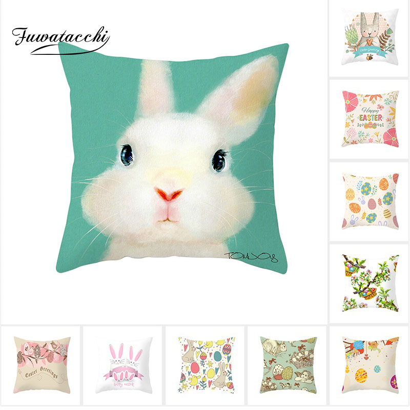 Fuwatacchi Cartoon Animal Cushion Covers Rabbit Pillow For Home Sofa Chair Decorative Celebration Festival Pillowcases