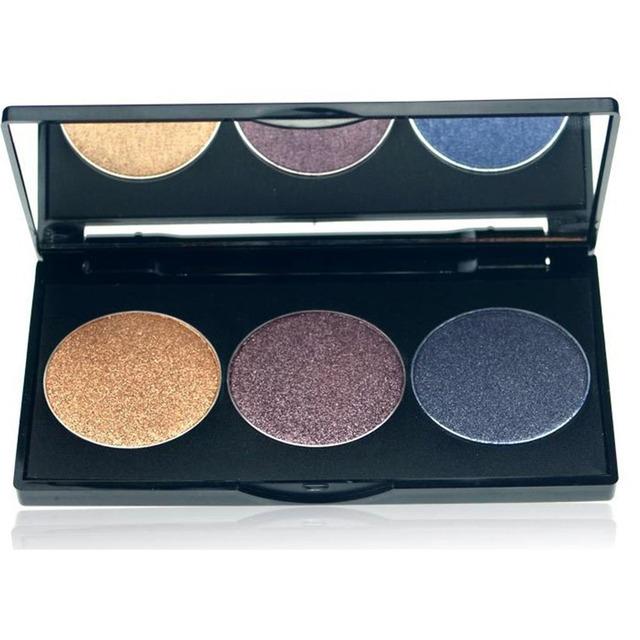 3 Color Maquillaje Paleta de Sombra de ojos Marca de Cosméticos Brillante Diamante Giltter Pigmento de Sombra de Ojos Maquillaje Kit Set