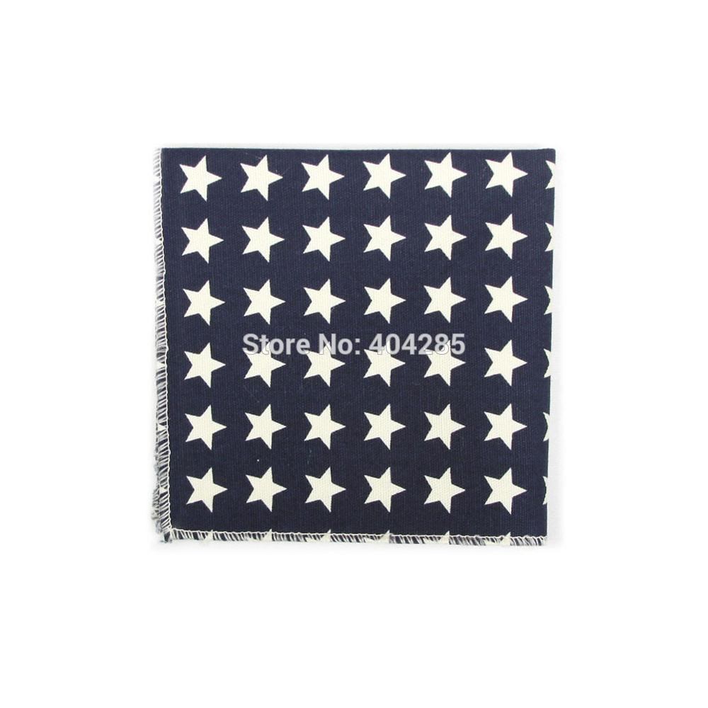 2019 100 Cotton Handkerchiefs Star Men's Pocket Square Print Scarf 22X22CM