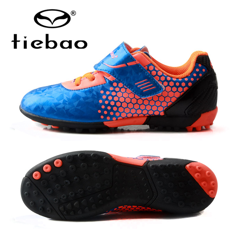 TIEBAO Kids Football boots TF Turf Soles Durable Boys Girls Training Soccer Shoes Outdoor Sports Size 30-38 tiebao professional boys fg