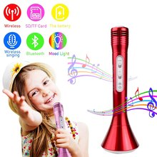 Wireless Portable Karaoke Microphone Studio Vocal Recording Mic with LED Lights Speaker Bluetooth for Smartphone Karaoke Singing(China)