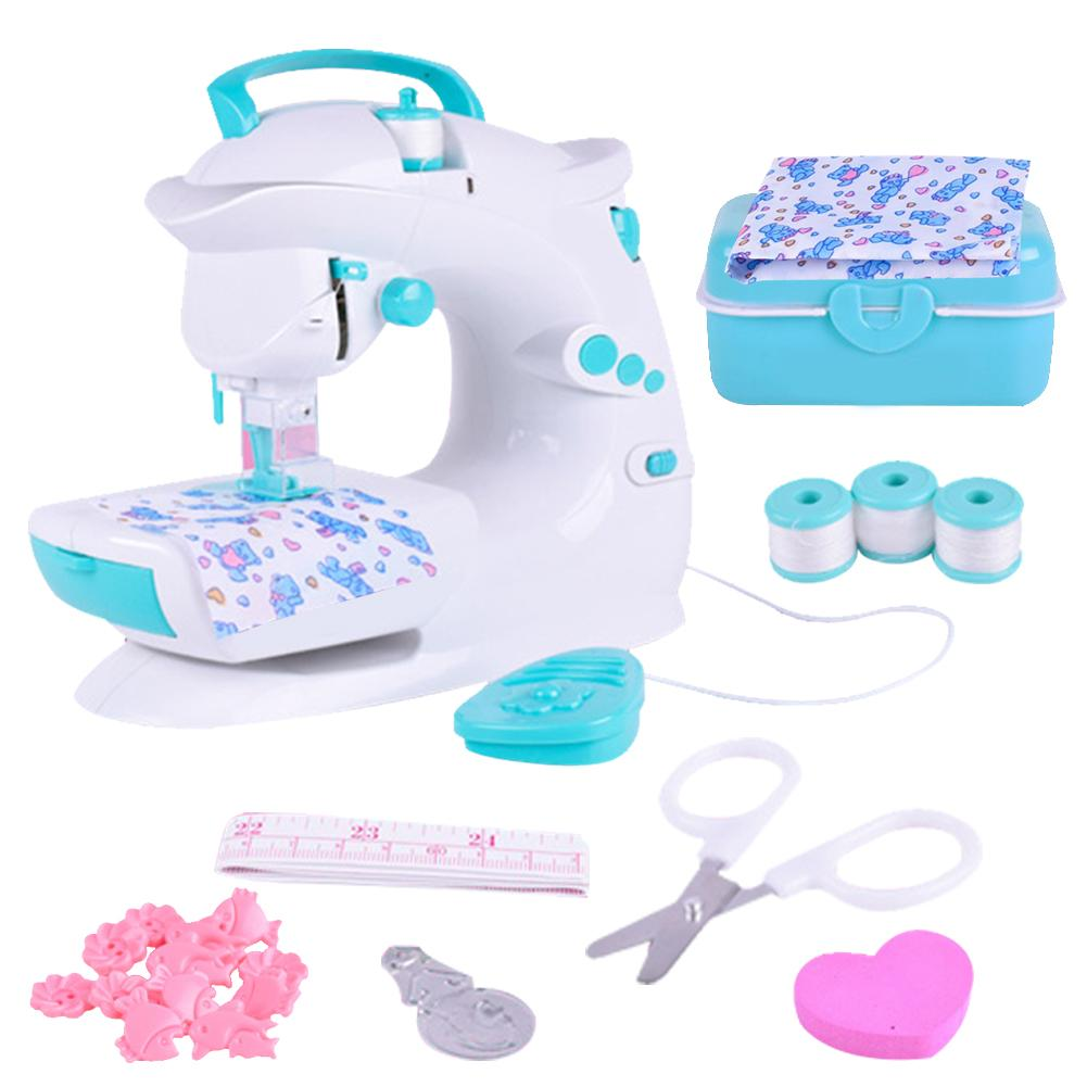 Children's Sewing Machine plastic Toy Simulation Girl Puzzle Small Household Appliance Set Play Game Toy battery