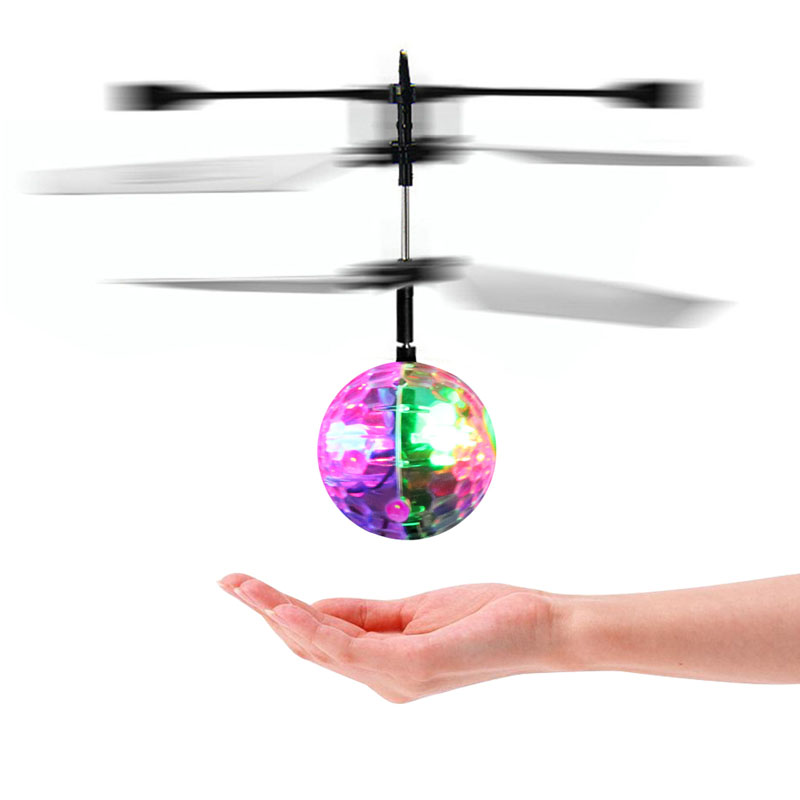 New Flash Flying Ball Infrared Induction Colorful LED Disco RC Helicopter kids Toy ...