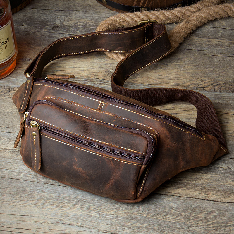2018 New Vintage Genuine Leather Men's Multifunction Waist Pack Bag Hiqh Quality Chest Pack Belt Waist Phone Pouch Men Bag Bolsa vintage bags real genuine leather cowhide men waist pack pouch for men leather waist bag outdoor travle belt wallets vp j7144 page 9