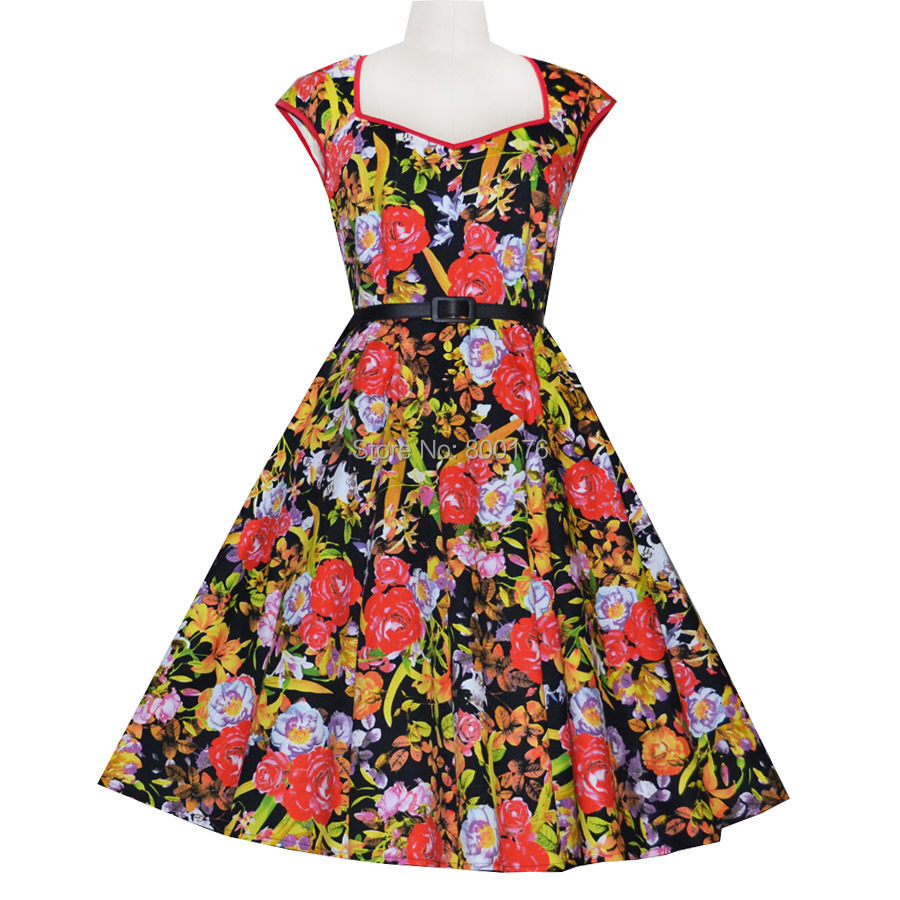 Free shipping 2015 50s Rockabilly Vintage Dress Retro Swing Red Print Sexy Prom Party Causal Women