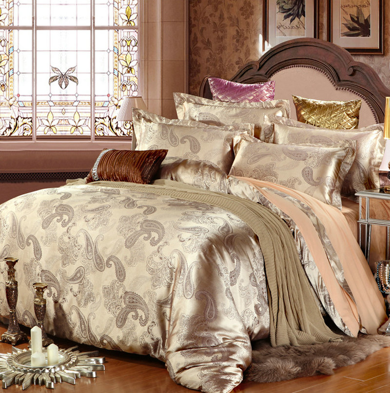 4 pcs Luxury Bedding Set Satin and Cotton Bed Sheet Jacquard Bedding Sets Duvet Cover White Blue Golden Pink