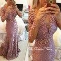 Ближний восток халат де дубай вечернее платье вечерние платья саудовская аравия жемчужно-розовом кружева русалка пром платья для особых случаев платье