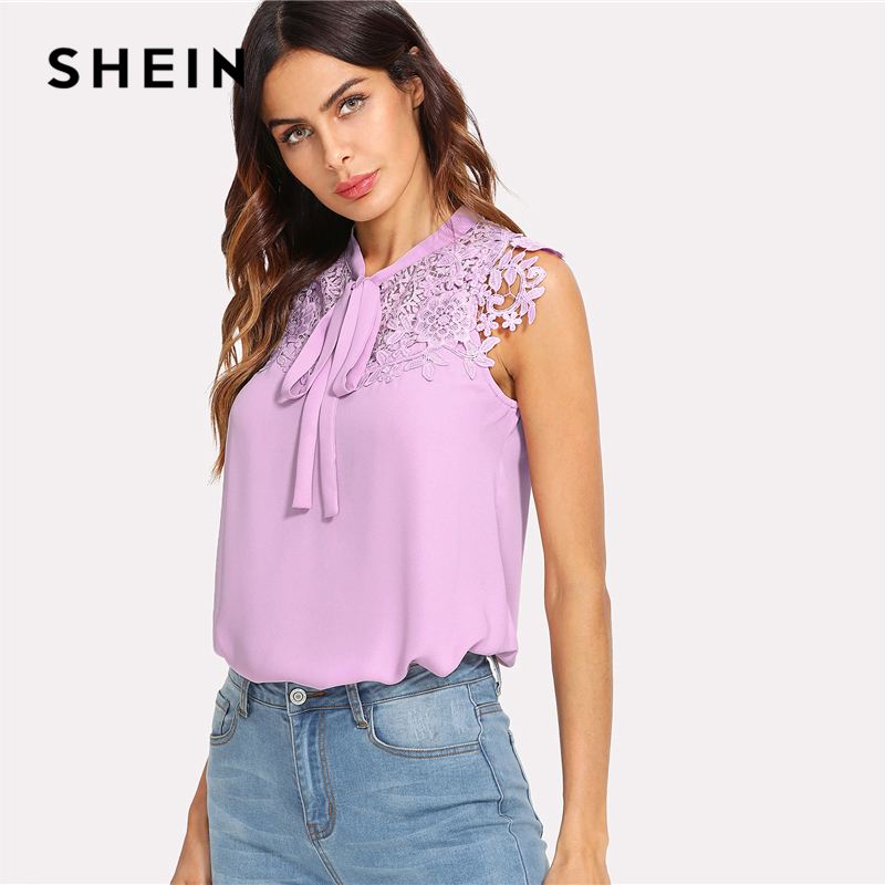 0275520f9c230 SHEIN Guipure Lace Applique Tied Neck Top 2018 Summer Purple Stand Collar  Sleeveless Blouse Women Casual Solid Top-in Blouses   Shirts from Women s  Clothing ...