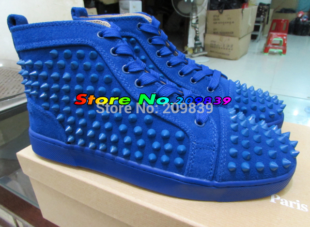 Suede Louis Spikes Men s Flat Blue Spike Studded Red Bottom Shoes For Men  and Women Casual Sneakers 6e37e86f9df6