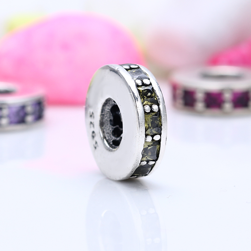 High Quality 100% 925 Sterling Silver Fit Original Pandora Bracelet Eternity Spacer yellow Beads for Jewelry Making Gift