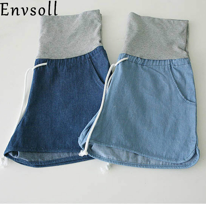 Envsoll Summer Maternity Shorts Denim Pants Loose Jeans Plus Size Pregnant Short Blue Maternity Pants Clothes Pregnant Women women s floral embroidery denim shorts 2017 summer fashion hight waist short jeans femme cotton shorts plus size xl e984