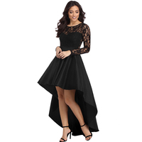 Elegant Women Lace Long Sleeve Dress Autumn Winter O Neck Irregular Swallowtail Satin Party Black Dress Chic Sexy Wine Vestidos