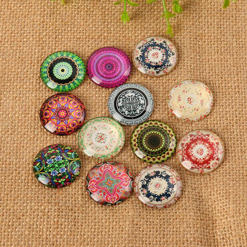 60pcs/lot Glass Cabochon Yoga Cabochons Round 8mm-35mm Flatback For Necklace Bracelet Earrings DIY Jewelery Making